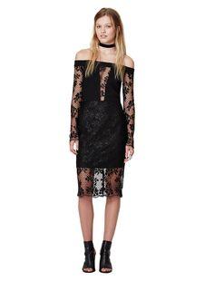 bec and bridge - Black Roses Off Shoulder Dress