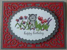 G094 Hand made birthday card using spellbinders filigree die and Elzybells cat stamp