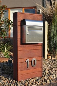 Diy Mailbox, Modern Mailbox, Mailbox Ideas, Mailbox Makeover, Unique Mailboxes, Mailbox Landscaping, My Pool, Post Box, House Entrance
