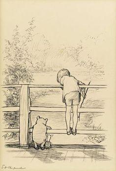 Een tekening in Chinese inkt van de Britse tekenaar Ernest Howard Shepard, die diende als illustratie bij een verhaal van Winnie the Pooh, is bij Sotheby's in Londen verkocht voor 314.500 pond (op een haartje na 400.000 euro).