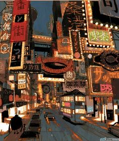 Visual Development for Big Hero 6 by japanese illustrator and Coraline concept artist: Tadahiro Uesugi. (Just imagine the entire San Fransokyo in his artstyle *stars in my eyes*) Art Disney, Disney Concept Art, Concept Art Landscape, Landscape Art, Disney Big Hero 6, Photo Manga, The Big Hero, Art Tutorial, Bg Design