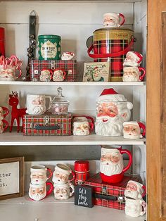 Decorating for the holidays is fun, but it can be stressful. I am sharing easy tips and ideas on how to style a hutch for Christmas easily and stress-free. Farmhouse Christmas Decor, Christmas Kitchen, Christmas Mugs, Primitive Christmas, Rustic Christmas, Christmas Home, Vintage Christmas, Christmas Ideas, Christmas Mantles