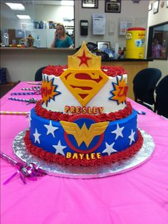 Super woman and super girl cake.
