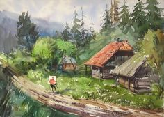 Original Landscape Painting by Maksym Kisilov Watercolor Paintings, Original Paintings, Original Art, Impressionism Art, Buy Art, Paper Art, Saatchi Art, Sky, The Originals