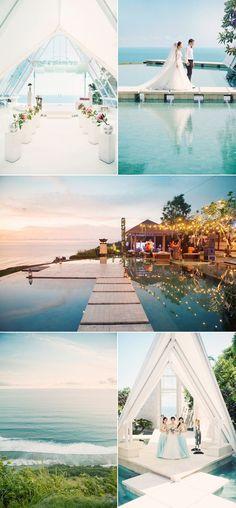 shades of blue beach themed wedding ideas in Bali