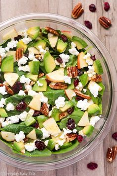 Apple Avocado Spinach Salad Recipe | EverydayEasyEats.com