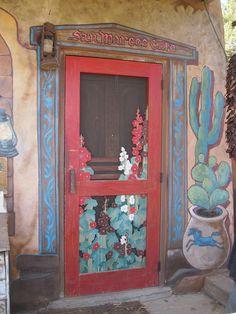 Painted Door at San Marcos Cafe, Hwy 14, Santa Fe, NM