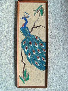 Vtg Blue Peacock Gravel Art mosaic pebble rock wall decor