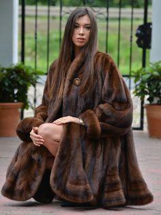 NEW 2016 BROWN ROYAL SAGA MINK FUR SWINGER COAT CLASS OF PONCHO SABLE FOX JACKET