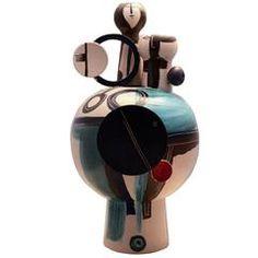 Elio Schiavon 1970s Ceramic Vase/Sculpture Unique Piece Handmade and Painted