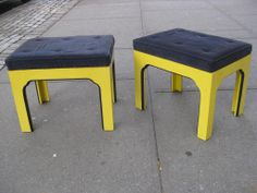 ottoman options (refinished and re-upholstered) Pair of Mid C Ottomans image 3