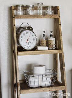 How to get that Restoration Hardware style weathered wood stain. by katharine Wood Ladder Shelf, Diy Ladder, Bookshelf Ladder, Small Ladder, Ladder Decor, Bathroom Storage Ladder, Toilet Storage, Bathroom Closet, Weathered Wood Stain