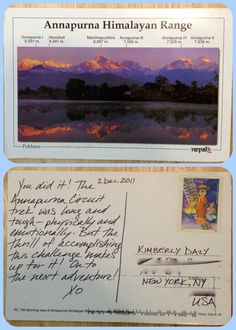 I sent myself a postcard from Nepal nearly two years ago. Today it showed up in my mailbox—in California, no less! I highly recommend doing this when you're on vacation. Happy Trails, Himalayan, Mailbox, Nepal, Postcards, California, Adventure, Writing, Vacation