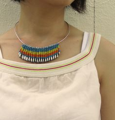 Safety pin and bead necklace