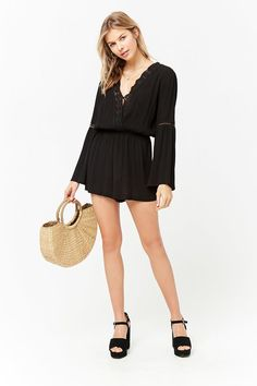 Product Name:Crochet Trim Romper, Category:dress, Price:14.9