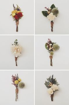 These boutonnieres are exactly right for an outdoor, winter woodsy wedding! There is something incredibly beautiful about the dark colours. See more floral inspiration for your big day at vsb!