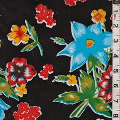 Black Floral Oilcloth - Fabric By The Yard At Discount Prices