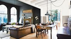 Colour scheme, materials, leather banquette, industrial lights; rustic-living-room-chesterfield-couch-dark-walls-mar14