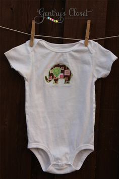 Baby Elephant Pink & Brown Applique Shirt or by gentryscloset, $20.00