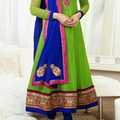 Look.    ..... !!!!! what a Combination ... !!!! #bright #pink #green # blue  #Latest #stylish #dress - Todays #indian #fashion #trend - #Long #floor #length #Anarkali #suit