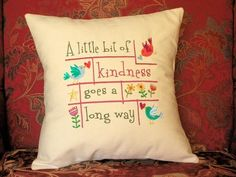Cotton Pillow Cover, Pillow, Words To Live By, A Little Kindness, Typography