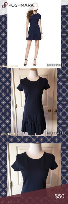 """Juicy Couture Solid Ponte Dress Blue Sz S Juicy Couture Solid Ponte Dress Blue Sz S, retail $268, very good condition, worn a few times, just been dry cleaned, mix of viscose/polyamide/elastane, short sleeve, gold zip with """"J"""" zip going about 3/4 way down, top shoulder measured down front of dress 33"""", armpit to armpit 15.5"""", 🚫No Trades🚫 Juicy Couture Dresses"""