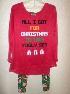 c51da9e49a051 ALL I GOT FOR CHRISTMAS IS THIS FUGLY SET-2 pc Pajama Set Santa L XL 1X 2X  3X