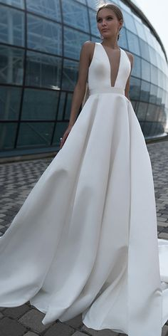 Modest Satin Jewel Neckline Cut-out Back Full-length A-line Wedding Dress With Bowknots