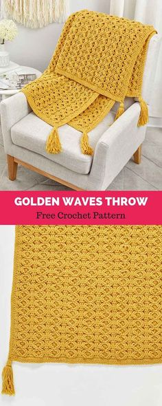 Golden Waves Throw Free Crochet Pattern blanket patterns unique 50 Versatile And Unique Free Crochet Patterns – DIY Rustics … Crochet Afghans, Gilet Crochet, Afghan Crochet Patterns, Baby Knitting Patterns, Crochet Blankets, Crochet Throw Pattern, Crochet Ripple, Crochet Stitches, Stitch Patterns