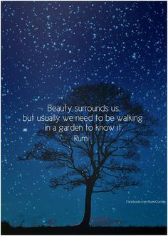 Beauty surrounds us, but usually we need to be walking in a garden to know it. - Rumi sufi mystiic and persian poet Rumi Love Quotes, Sufi Quotes, Inspirational Quotes, Motivational Quotes, Nature Quotes, Kahlil Gibran, Rumi Poem, Poet Rumi, Buddha