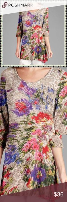 "NWT💜Elbow Sleeve Floral Abstract Tunic💜 Very Cute & Flattering! Soft, Bouncy & Stretchy 100% Polyester Approximate Measurements: Bust-40"" Length-33"" Tops Tunics"