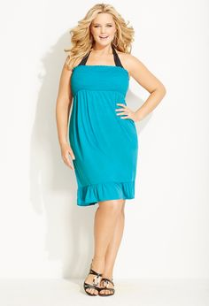 Plus Size Solid Smocked Strapless Cover Up | Avenue