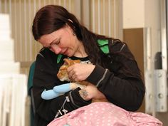 Topper and his owner Katrina Cannon reunite on Friday