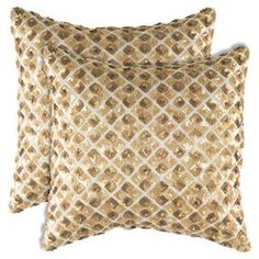 "Sequined accent pillow with a diamond motif.   Product: PillowConstruction Material: Linen  and polyester fillColor: GoldFeatures:  Insert includedApplique and sequin detailing Dimensions: 18"" x 18""Cleaning and Care: Hand wash cold. Lay flat to dry."