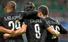 Download wallpapers Mbappe, Edinson Cavani, Neymar, PSG, soccer, football stars, Ligue 1, Paris Saint-Germain, Cavani, footballers, Neymar JR