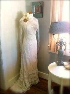 Wedding Dress Decor #display #weddingdress #frenchlace #weddingdressdisplay #memories #weddingdecor #homedecor #vintagebride #vintagehomedecor #shabbychic #victorianwedding #victorianhomedecor