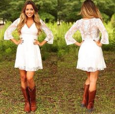 2019 Modest Short Lace Cowgirls Country Wedding Dresses with Long Sleeves Mini Bridal Gowns Reception Dress for Wedding Vestido De Novia - Short wedding dress - Short Lace Wedding Dress, Elegant Wedding Gowns, Elegant Dresses, Simple Country Wedding Dresses, Country Western Dresses, White Sundress For Wedding, Dresses For Wedding Reception, Vintage Country, White Country Dress