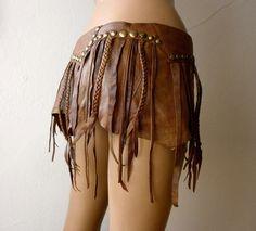 Dream Warriors brown leather mini skirt por DreamWarriors en Etsy
