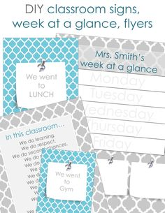 DIY Teacher Week at a Glance, Flyers, and Posters  Edit text and color. Add pictures for more customization.