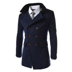 New Autumn Sobretudo Masculinos Preto Cool Mens Coats Overcoats Double Breasted Men Wool Coat Business Casual Trench Coat Men Man's Overcoat, Winter Overcoat, Winter Parka, Winter Coats, Fall Winter, Trench Coat Men, Double Breasted Trench Coat, Pea Coat Men, Men's Coats And Jackets
