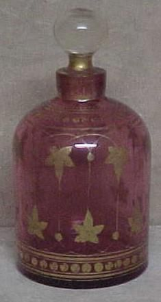 Early Cranberry Art Glass Perfume Cologne Bottle