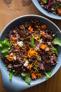 A recipe for Roasted Sweet Potato and Quinoa Salad. Perfect for winter roasting season!