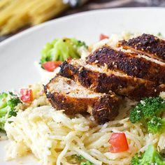 Recipe: Blackened Chicken with Creamy Angel Hair PastaRecipes from The Kitchn chicken pasta recipes Blackened Chicken Pasta, Angel Hair Pasta Recipes, Butter, Meals For Two, Fancy Meals, Weeknight Meals, Chicken Recipes, Chicken Meals, Chicken Rub