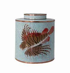 Product Detail - Aqua Rock Fish Cloisonne Covered Tea Jar