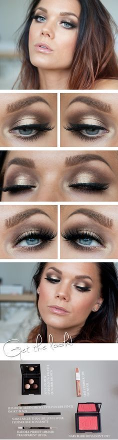 This makeup look is not too over the top but still stands out and looks really nice. I think it will really compliment the hair and will match with any dress being the gold colours that it is.