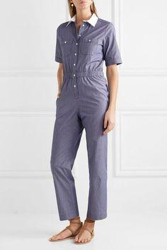 Vanessa Seward - Downtown Pinstriped Cotton-poplin Jumpsuit - Navy
