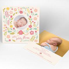Faire-part naissance - Petite fleur - Carré simple - Naissance.fr Bebe Nature, Ajouter, Ainsi, Frame, Portrait, Illustrations, Simple, Flowers, Cards