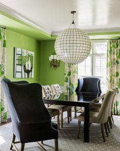 Une salle de séjour tout en vert !  ambiances, couleur, décoration, intérieur, nature, nuances, Séjour, teintes, vert