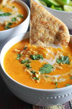 Thai Coconut Curry Butternut Squash Soup.  I'm obsessed!  So flavorful and satisfying on a cold Fall day.  | hostthetoast.com (Orange Squash Recipes)