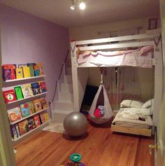Kids Space: Loft bed, bunk bed build with hanging toddler bed and swing!